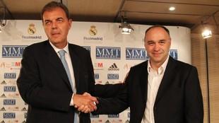 Juan Carlos Sánchez y Pablo Laso, el día de la presentación del...