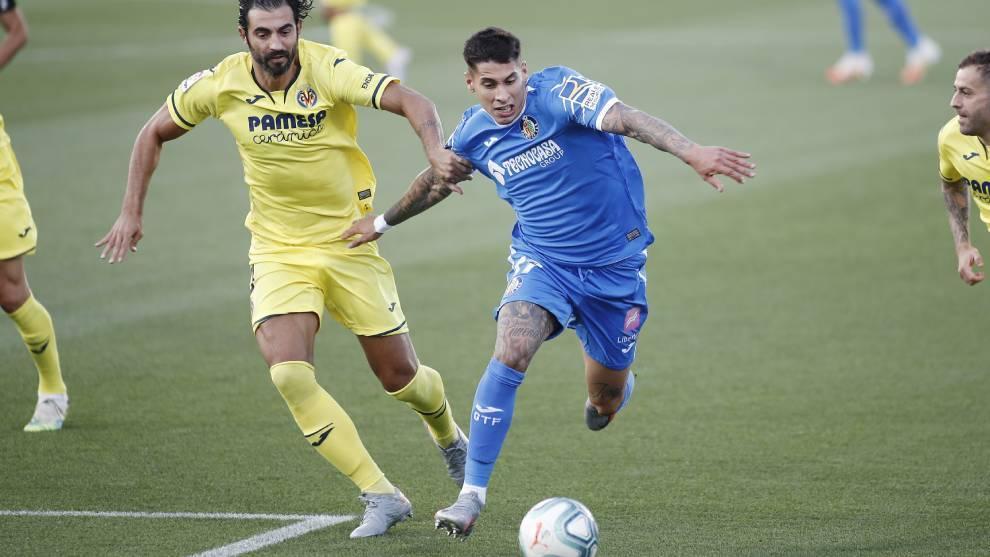 Olivera en el partido contra el Villarreal