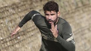Costa, en un entrenamiento del Atlético.