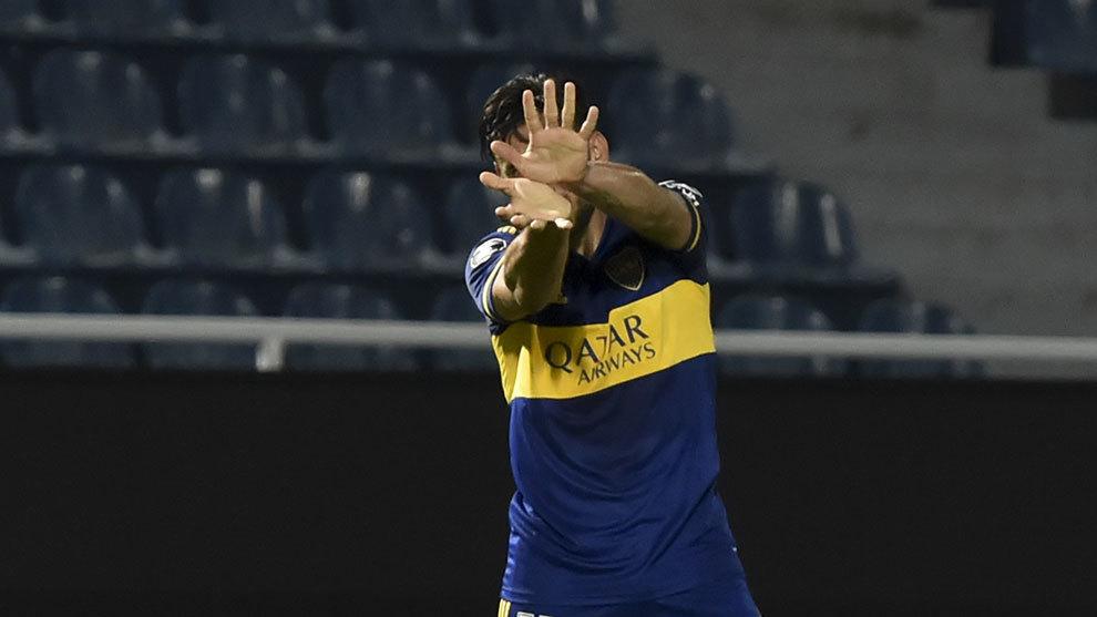 Boca celebra el triunfo en Paraguay.