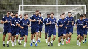El Real Zaragoza en un entrenamiento esta semana