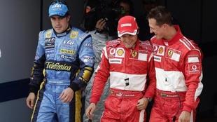 Alonso, Massa y Schumacher.