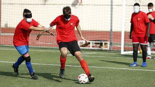 Entrenamiento de la selección española de fútbol ciegos.