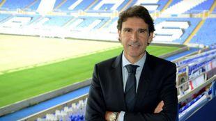 Aitor Karanka en su presentación como nuevo entrenador del Birmingham...