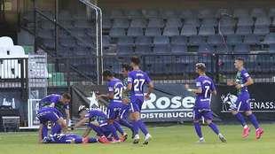 Los jugadores del Málaga celebran el golazo de Ramón en Castalia