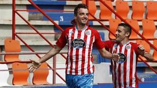 Manu Barreiro celebra el gol del triunfo sobre el Leganés