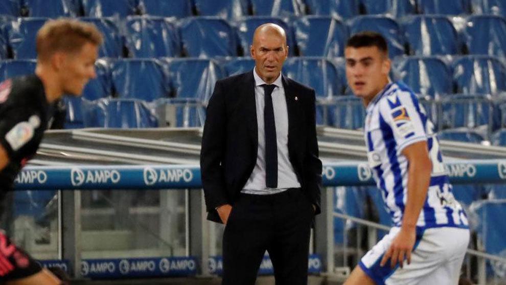 Zinedine Zidane, durante el partido ante la Real Sociedad