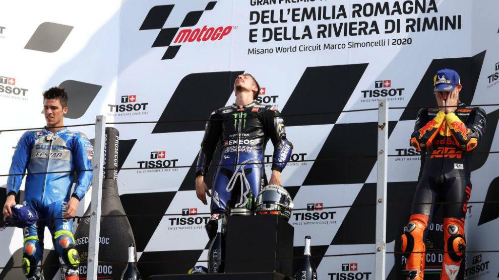 Mir, Viñales y Espargaró en el podio de Misano, ayer.