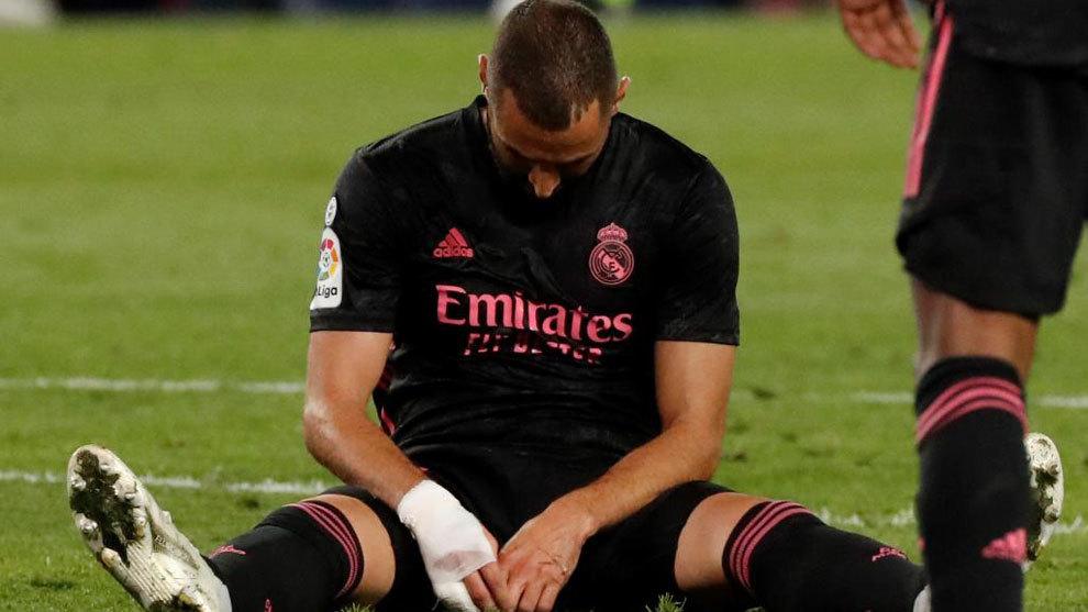 Karim Benzema, durante el partido ante la Real Sociedad