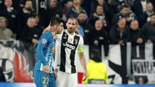 Morata, con el Atlético, en un partido ante la Juventus.