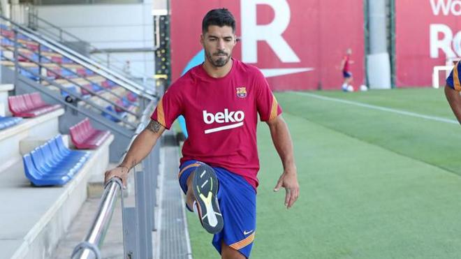 Luis Suárez en un entrenamiento con el Barcelona.