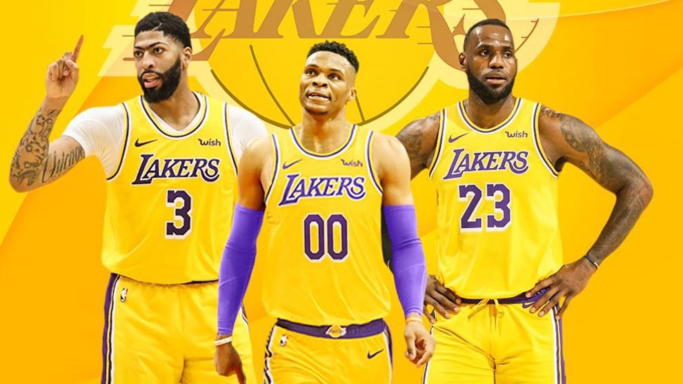 Montaje de Russell Westbrook con la camiseta de los Lakers