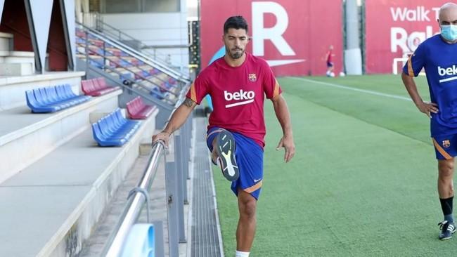 Suárez, en un entrenamiento del Barça