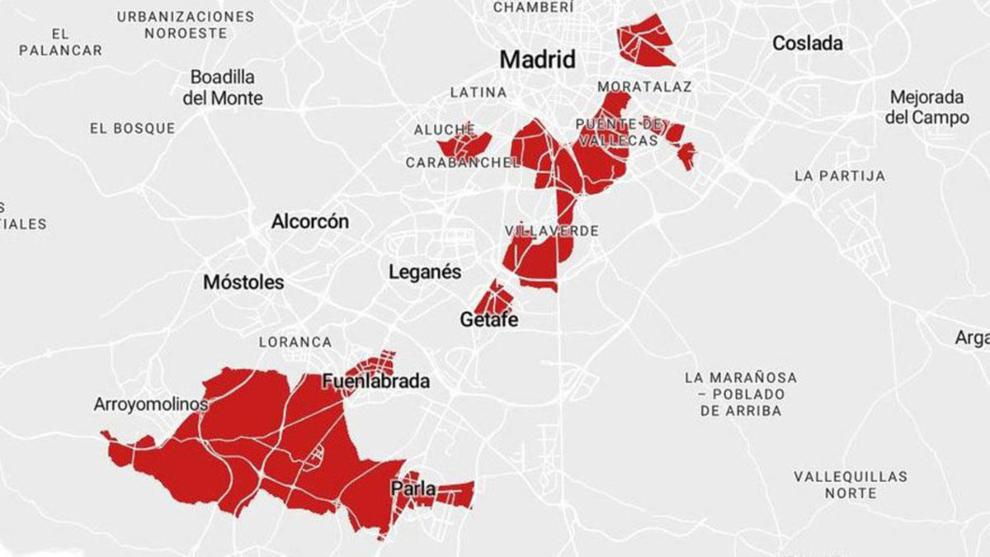 Coronavirus Madrid: nuevas zonas en las que se restringe la movilidad.