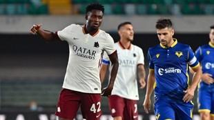 Amadou Diawara, jugador de la Roma, durante el partido del pasado fin...