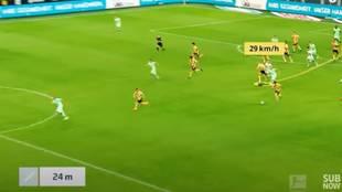 La Bundesliga saca a la luz la velocidad a la que Haaland recorrió 93 metros... y da 'miedo'