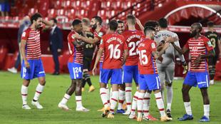 El Granada CF en el partido contra el Alavés de la jornada 2 de...