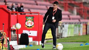 Xisco Muñoz, en el banquillo del Dinamo Tbilisi durante el partido...