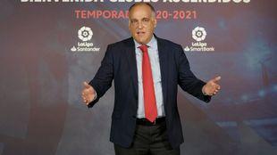 Javier Tebas, presidente de la LFP, en uno de los últimos actos...