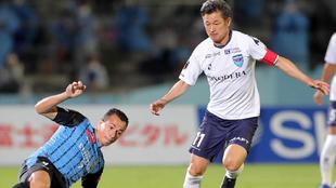 Kazuyoshi Miura en el partido de la primera japonesa contra Kawasaki...