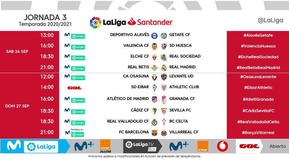Eibar-Athletic y Cádiz-Sevilla se disputarán el domingo 27 de septiembre