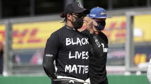 Lewis Hamilton en apoyo al movimiento 'Black Lives Matter'.
