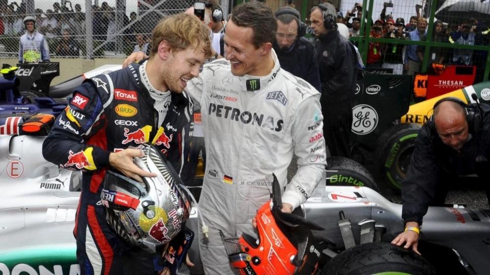 Sebastian Vettel y Michael Schumacher.