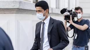 Al Khelaifi, tras prestar declaración ante el juez en Bellinzona...