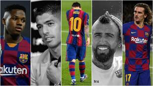 Ansu Fati, Luis Suárez, Messi, Arturo Vidal y Griezmann.