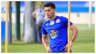 Nacho González en un entrenamiento con el Dépor