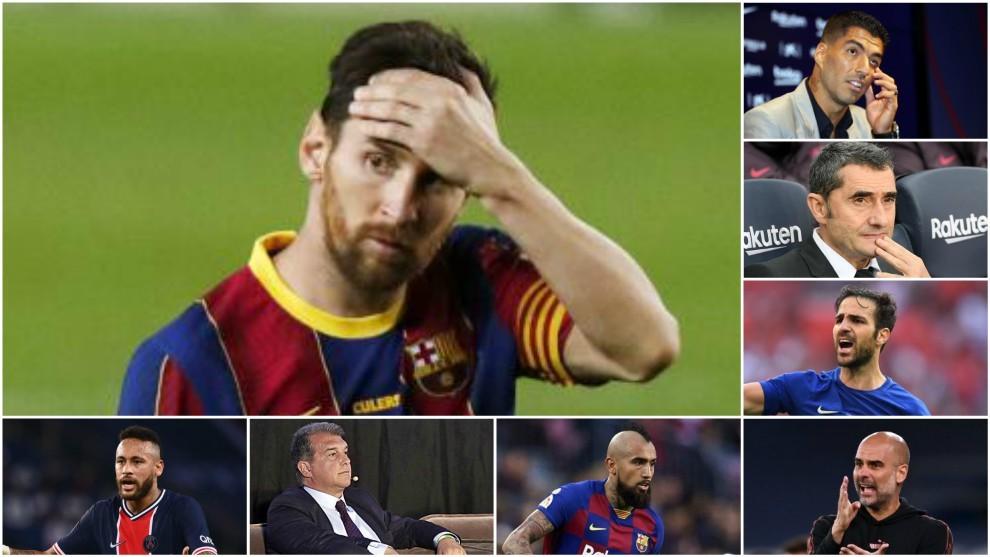 Messi with Luis Suarez, Valverde, Cesc, Guardiola, Arturo Vidal,...