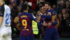 Luis Suárez, Griezmann y Messi.