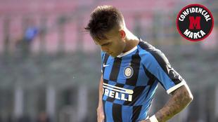 Lautaro Martínez en un partido con el Inter