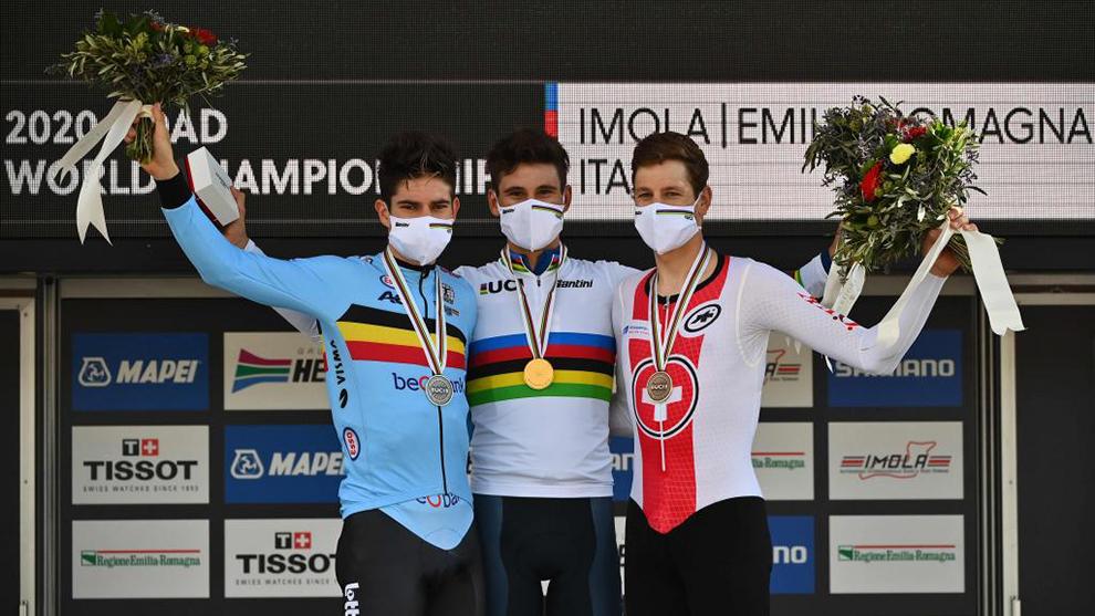 Podio de la prueba del mundial de ciclismo en Imola