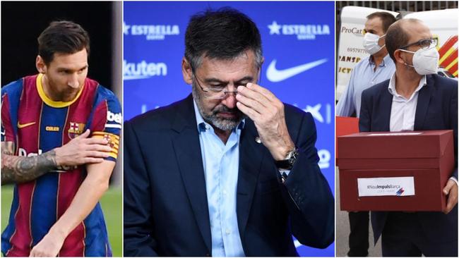 Leo Messi, Bartomeu y Jordi Farré, llevando las papeletas.