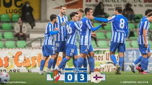 El RC Deportivo de la Coruña en el partido ante el Racing Villalbés