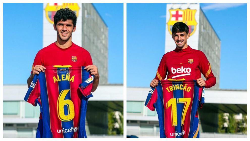 Aleñá y Trincao posan con sus nuevos dorsales.