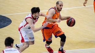 Quino Colom, en el partido entre el Valencia Basket y el Casademont...