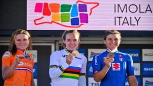 Podio del mundial de ciclismo femenino en ruta