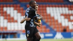 Akieme celebra en el Anxo Carro el primer gol del Almería