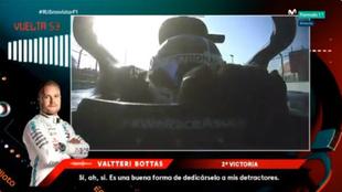 Bottas, en el momento de mandar su agresivo mensaje por radio.