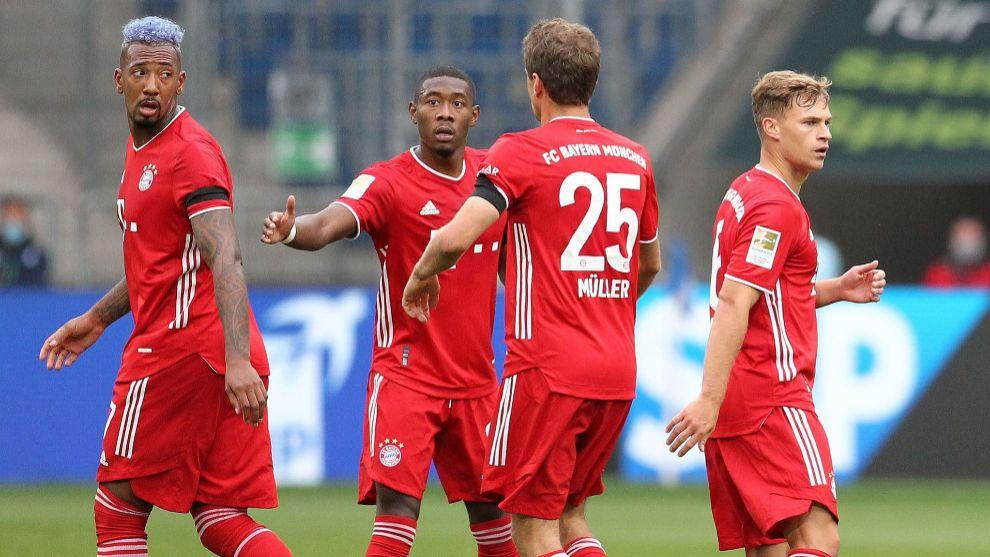 Los jugadores del Bayern,. en Hoffenheim.
