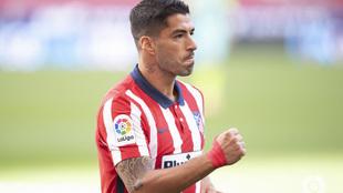 Luis Suárez celebra un gol.