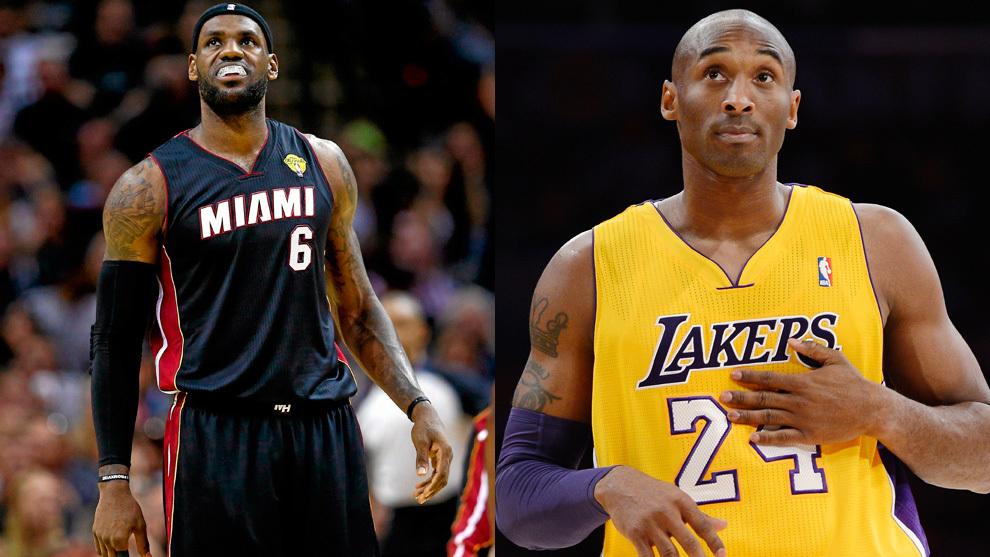 LeBron James con la camiseta de los Heat y Kobe Bryant