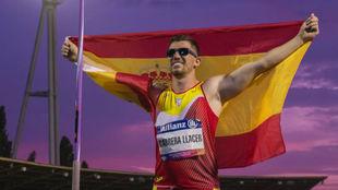 Hector Cabrera, tras batir el record del mundo.