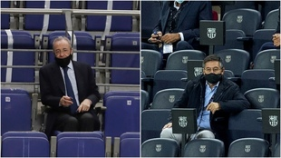 El presidente del Real Madrid, Florentino Pérez y el del Barcelona,...