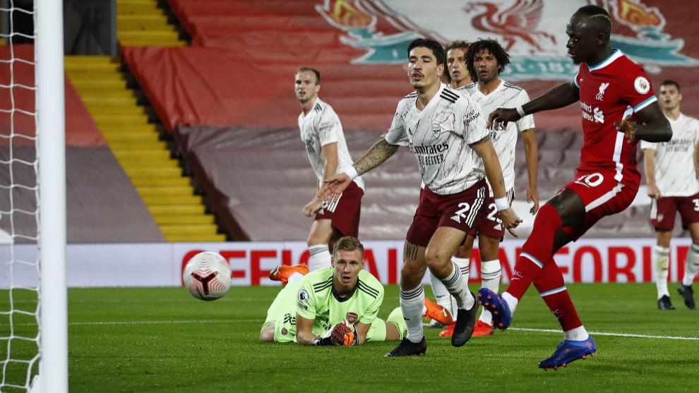 Mané empató el partido al recoger un rechace de Leno a tiro de Salah