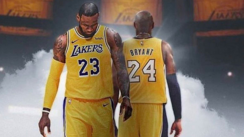 Montaje de LeBron James y Kobe Bryant