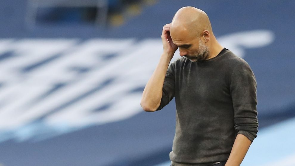 Manchester (United Kingdom), 27/09/2020.- Pep lt;HIT gt;Guardiola lt;/HIT gt; of Manchester City during the English Premier League match between Manchester City and Leicester City in Manchester, Britain, 27 September 2020. (Reino Unido) EFE/EPA/Martin Rickett / POOL EDITORIAL USE ONLY. No use with unauthorized audio, video, data, fixture lists, club/league logos or live services. Online in-match use limited to 120 images, no video emulation. No use in betting, games or single club/league/player publications