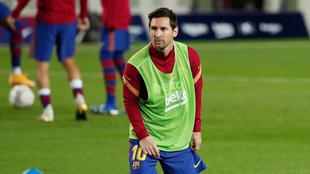 Lionel Messi en el calentamiento del Barcelona.